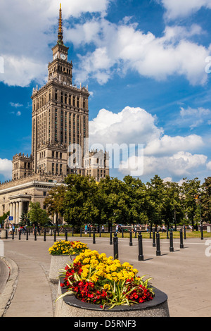 The Palace of Culture and Science, or Pałac Kultury i Nauki, (also abbreviated to PKiN) in Warsaw, Poland. - Stock Photo