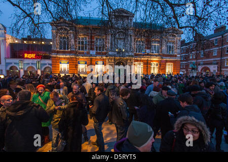 London, UK. 8th April 2013. Hundreds of people gather in Brixton celebrating the demise of Baroness Thatcher. Credit: - Stock Photo