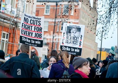 London, UK. 8th April 2013.  People gather in Brixton to celebrate the death of Margaret Thatcher. Credit: Piero - Stock Photo