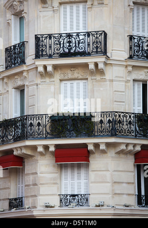 Closeup of a house in the typical Parisian architecture. - Stock Photo