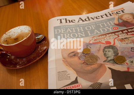Adelaide, Australia. 9th April 2013.  The death of the former British Prime Minister Margaret Thatcher 1925-2013 - Stock Photo