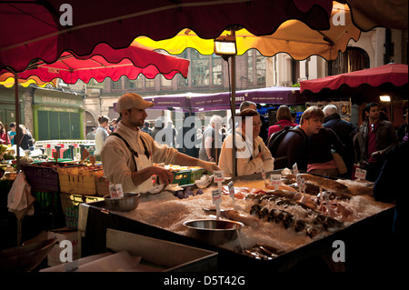 Fishmonger at Borough Farmers Market, London - Stock Photo