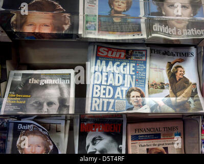 UK national newspapers with front pages devoted to the death of former PM Margaret Thatcher on sale in a London - Stock Photo