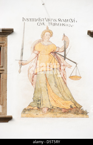 Renaissance painting on the Town Hall of Levoca, Slovakia. Depicting the virtue of Justice - Stock Photo