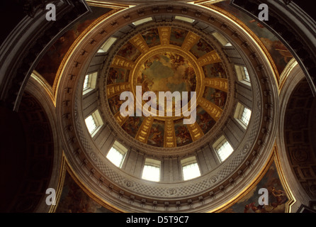 Interior of dome with allegories painting by Artist Charles De La Fosse right above Napoleon's tomb in Eglise du - Stock Photo