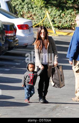 Sandra Bullock seen taking her son Louis to school Los Angeles, California - Stock Photo