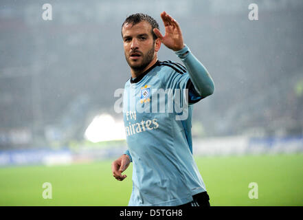 Hamburg's Rafael van der Vaart reacts during the German Bundesliga soccer match between Fortuna Duesseldorf and - Stock Photo