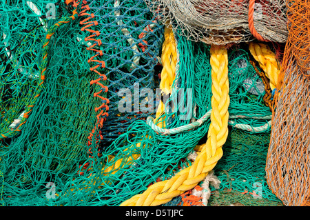 Whitstable, Kent, England, UK. Fishing nets in the harbour - Stock Photo