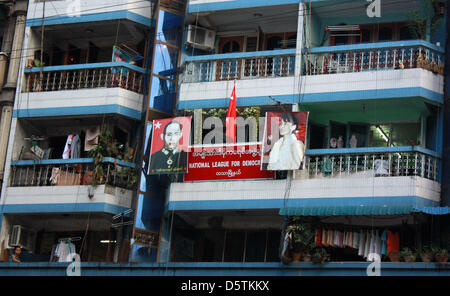 NLD pary offices are pictured on Maha Bandoola Road in Yangon, Myanmar, 21 October 2012. A picture of opposition - Stock Photo
