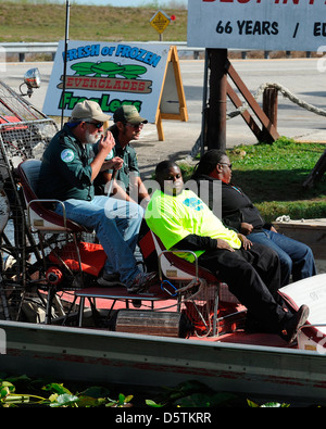 Jerome Jackson, Bernice Heading to ride an airboat for the TV series, 'South Beach Tow' Miami, Florida - Stock Photo