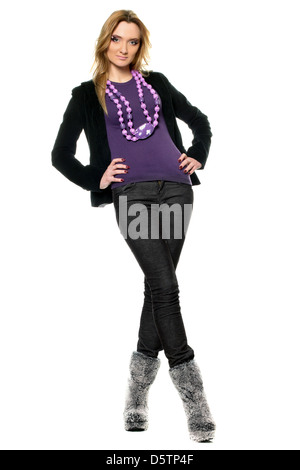 woman in a jeans and jacket - Stock Photo