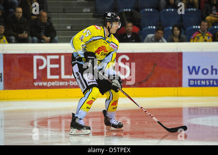 Krefeld's Christian Ehrhoff controls the puck during the German Ice Hockey League (DEL) match Krefeld Pinguine vs - Stock Photo