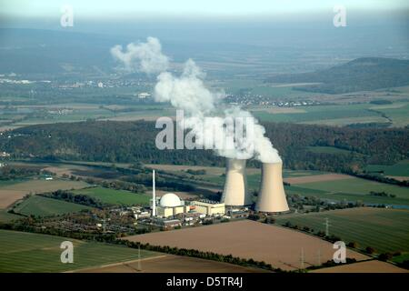 Aerial view of the nuclear power plant Grohnde in Emmerthal, Germany, 08 May 2012. Photo: Stefan Rampfel - Stock Photo
