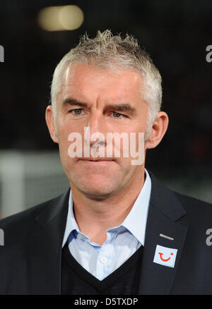 Hannover's head coach Mirko Slomka is pictured before the Bundesliga soccer match between Hannover 96 and FC Nuremberg - Stock Photo