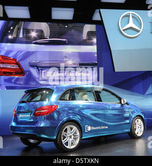 A Mercedes-Benz B-class Electric Drive is presented on the first press day of the Paris Motor Show in Paris, France, - Stock Photo