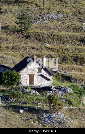 Mountain Hut or Chalet in the Mercantour National Park Roya Valley Alpes-Maritimes France - Stock Photo