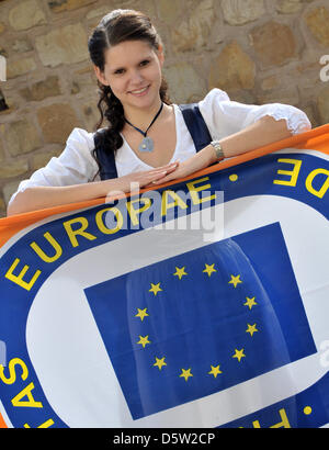 The Embassador of the 50th Europeade, 20-year-old Julia Hartung from Wechmar, poses as'Europina' in a specially - Stock Photo