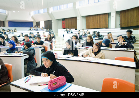 A new mentoring programm started at Mohammed V Souissi University where female students can get advice for her professional - Stock Photo