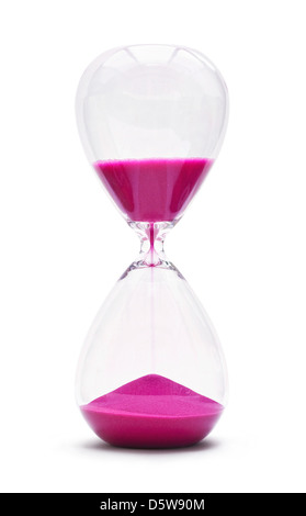 An hourglass showing the sands of time passing cut out on a white background - Stock Photo