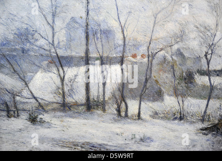 Paul Gauguin (1848-1903). French painter. Winter Landscape, 1879. Oil on Canvas, Museum of Fine Arts. Budapest. - Stock Photo