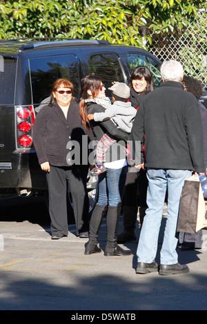 Sandra Bullock is seen taking her son Louis to school Los Angeles, California - Stock Photo