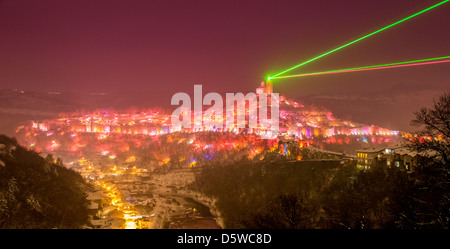 Panoramic view of the Tsarevets Fortress and river Yantra with the Sound and Light laser show at Veliko Tarnovo, - Stock Photo