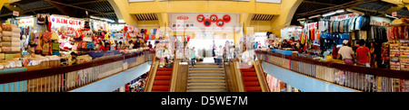 Panoramic view of interior of Cho Lon market in Cholon Chinatown; Ho Chi Minh City; Vietnam - Stock Photo
