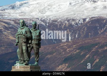 The Royal Marine Commando Memorial at Spean Bridge in the Highlands of Scotland. - Stock Photo
