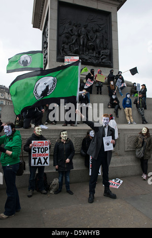 Protesters gather at Trafalgar Square, London on 30th March 2013, to campaign against the newly introduced Bedroom - Stock Photo