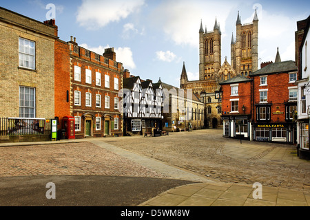 View of Lincoln Cathedral from Castle Hill - Stock Photo