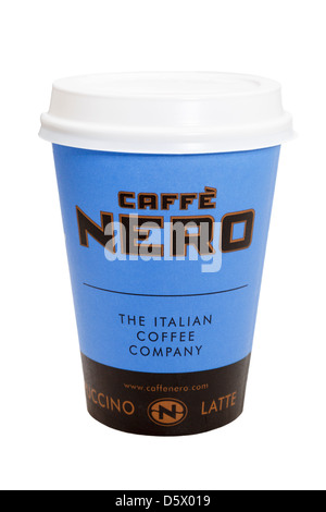 Caffe Nero disposable single use takeout paper coffee cup to go with plastic drink-through lid cutout and isolated - Stock Photo