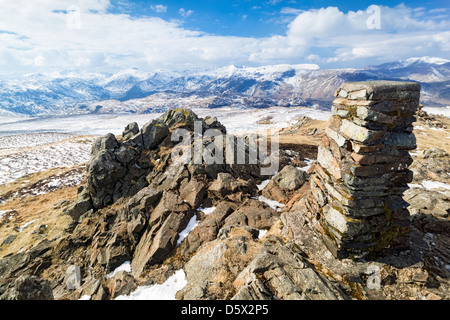 The summit cairn of High Seat in the Lake District in Cumbria - Stock Photo