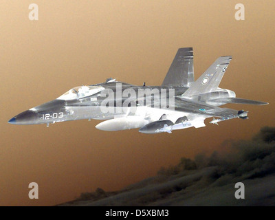 Spanish Air Force EF-18A 'Hormet' of Ala 12, or 12 Squadron, Torrejon AB, Spain. - Stock Photo