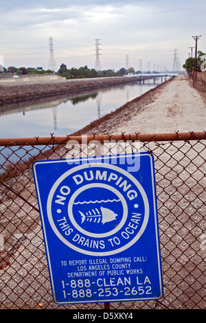 No Dumping in ocean sign along Dominguez Channel, Carson, California, USA - Stock Photo