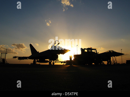 German Air Force Eurofighter 'Typhoons' at JG-74 in Deci, Sardinnia. - Stock Photo