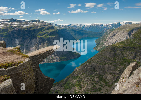 Trolltunga, Troll's tongue rock, Norway - Stock Photo
