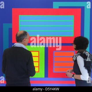 Expert visitors stand in front of the picture 'NoWayOut' in the new exhibition 'Malerei. Heute'('Painting.Today') - Stock Photo