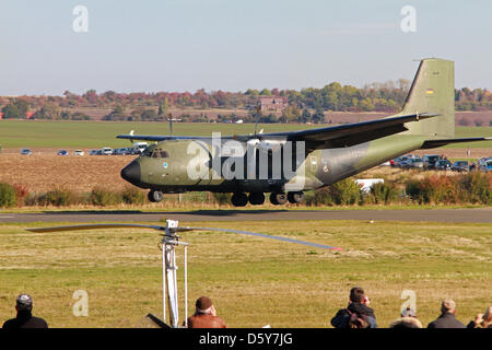 A Transall C-160 military aircraft approaches for landing at the airfield in Ballenstedt, Germany, 16 October 2012. - Stock Photo