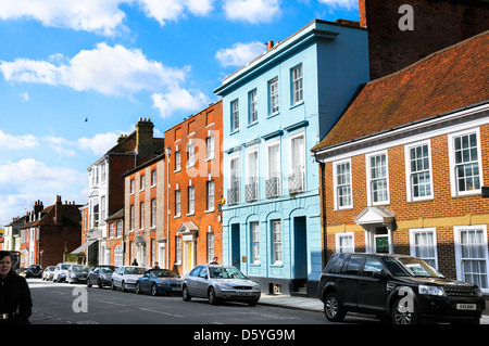 Listed buildings in West Street, Chichester city centre, West Sussex, England, UK - Stock Photo