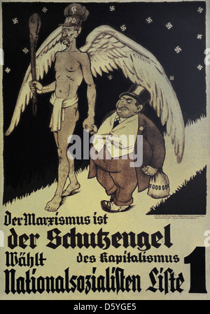 Germany. NSDAP poster for the Reichstag election. November, 1932. Marxism is the guardian angel of capitalism. - Stock Photo