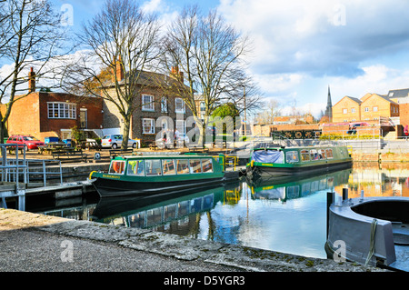 Chichester Ship Canal with cathedral in the distance, Southgate Basin, West Sussex, UK - Stock Photo