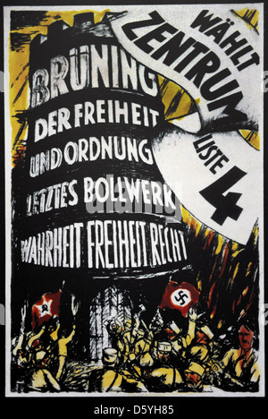 Center Party poster for the Reichstag elections of 1932. - Stock Photo