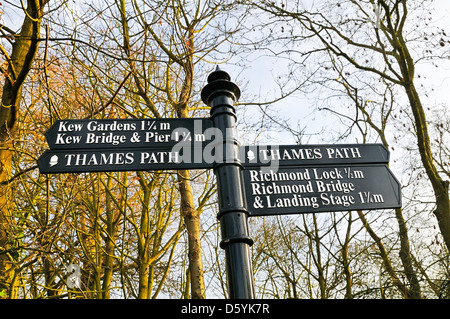 Thames Path sign, Richmond upon Thames, Greater London, England, UK - Stock Photo