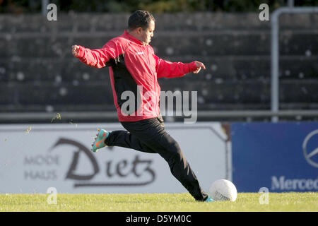 Brazilian soccer player Ailton goncalves is pictured on the pitch of Hassia Bingen stadium in Bingen am Rhein, Germany, - Stock Photo