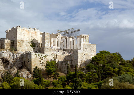 View of the Propylaea, the monumental gateway that serves as the entrance to the Acropolis in Athens, Greece, 17 - Stock Photo