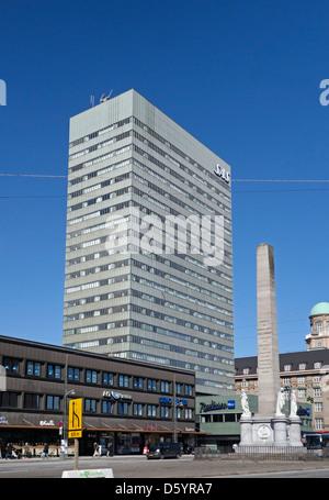 The Freedom Column or Liberty Memorial in Vesterbrogade Copenhagen Denmark fronting The Radisson Blu Royal Hotel Stock Photo