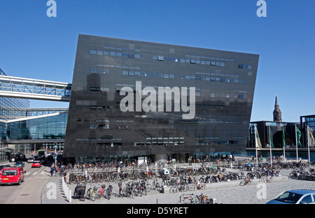 The Royal Danish Library is housed in a building termed The Black Diamond  located on the Copenhagen waterfront - Stock Photo