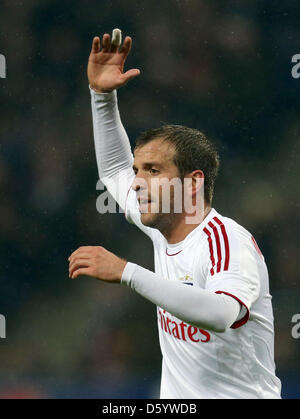 Hamburg's Rafael van der Vaart reacts during the German Bundesliga soccer match between Hamburger SV and FC Bayern - Stock Photo