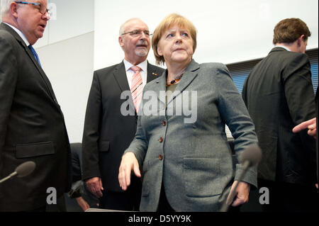 German Chancellor Angela Merkel takes part in the meeting of the CDU/CSU parliamentary party faction in Berlin, - Stock Photo
