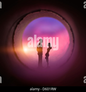 Barrel Of Love. Young couple in Love. - Stock Photo